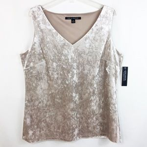 ZAC & RACHEL crushed velvet champagne top S, M